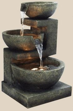 Garden fountains add a distinct element of elegance. Wall fountains are perfect for gardens, patios, or balconies. Indoor and Outdoor garden fountains and decor. Small Indoor Water Fountains, Indoor Tabletop Fountains, Tabletop Water Fountain, Indoor Fountain, Patio Fountain, Outdoor Fountains, Design Fonte, Water Fountain Design, Fountain Ideas