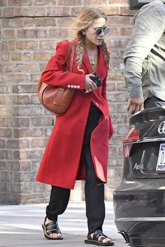 Mary-Kate Olsen Steps Out In A Red Coat And Pigtail Braids   Olsens Anonymous   Bloglovin'