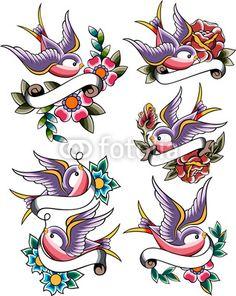 Tattoo swallow banner flower