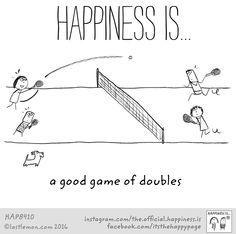 Happiness is badminton of double
