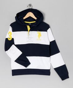Take a look at this Navy Stripe Button Hoodie by U.S. POLO ASSOC Boys on #zulily today!