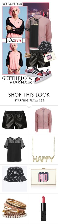 """""""Dye Your Hair Pink! Rita Ora"""" by shortyluv718 ❤ liked on Polyvore featuring adidas Originals, adidas, ONLY, Vince Camuto, Jennifer Meyer Jewelry, Anya Hindmarch, Miss Selfridge, NARS Cosmetics, Yves Saint Laurent and pinkhair"""