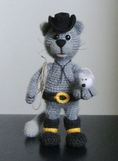 Cat Cowboy and mini Mouse  OOAK Stuffed Animals Crochet Handmade Soft toy decor Amigurumi Made to order
