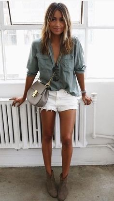 Sincerely Jules in white cut-off shorts and an Olive blouse