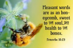"""Pleasant words are as a honeycomb, Sweet to the soul and health to the bones."" - Proverbs 16:24"