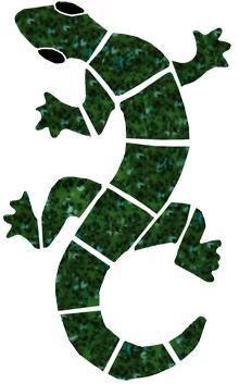 southwestern mosiac glass designs geccos | Ceramic Small Green Gecko Mosaic