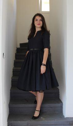 Modro-černé podzimní 50 s style šaty   Zboží prodejce toczna e929ea2426