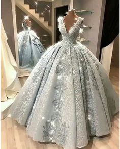 67d52287a3e Ball Gown Prom Dress With Lace Beads Floor-Length Silver Gray Quinceanera  Dress Sweet 16 Dresses for Girls