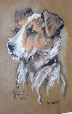 1936 Original Pastel Painting War Hero Terrier Dog Rags Artist H Bennett   eBay