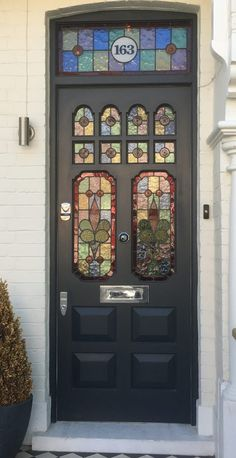 New farmhouse front door hardware light fixtures ideas House Front Door, Front Door Monogram, Front Doors With Windows, Painted Front Doors, Glass Front Door, Entrance Doors, Front Door Decal, Stained Glass Door, Timber Windows