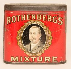 """Rothenberg's Mixture Vertical Pocket tin in excellent condition with only minor wear. Size: 3.5"""" x 3"""" x 1"""""""