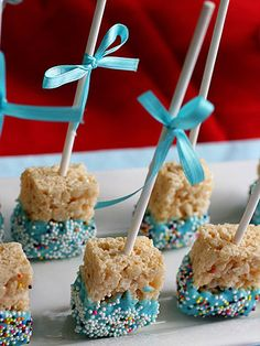 Chocolate-Dipped Rice Krispie Pops - great party favor for kid's birthdays. http://www.ivillage.com/bake-sale-recipes-busy-moms/6-a-530760