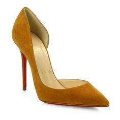Christian Louboutin Iriza Half D'Orsay Suede Pumps ($675) ❤ liked on Polyvore featuring shoes, pumps, laiton, red suede pumps, christian louboutin pumps, d orsay shoes, d'orsay shoes and christian louboutin shoes