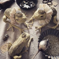 ...need a kiss? ✨✨ Heirloom spun cotton frog prince figurines.. so magical and sparkling.. Maybe the perfect decoration for your next fairytale coffy table or tea time...? ✨