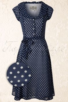 Collectif Clothing - 50s Violet Polka Dot Dress in Blue....Love this. This would so cute with red lipstick