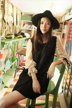Baju Import Dress DS3127-Black