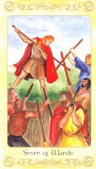 7-26-13 Friday's Tarot: 7 OF WANDS (Celtic Tarot) – This card often pertains to people with unique ideas, or those who have personal visions they are trying to put into practice.  Solving problems and finding better ways to do things are therefore important.  Sometimes your unique ideas are the very thing that creates conflict with others . . . because they may not agree with you.