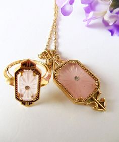 Art deco vintage necklace and ring set
