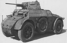 Italian AB 41  Armed with a 20mm cannon, one forward and one rearward firing machine guns, used mostly in Africa it was also employed in the Balkans were special railroad wheels could be fitted.