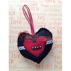 "Heart Ornament:  ""Amor"", Black Cable with Dark Red Heart, Vintage Lace by Susie Carranza. Available at www.ArtedeNuestroCorazon.com  #art #arte #heart #corazon # love # amor #valentine #susiecarranzastudio"