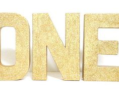 Glittered One Stand Alone 8 Inch Paper Mache Letters, First Year Birthday, Gold, Silver, Red, Light Blue, Pink, or Hot Pink Color Choice
