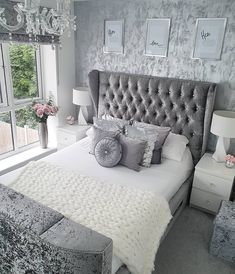 [New] The 10 Best Bedrooms (in the World) Silver And Grey Bedroom, Silver Bedroom Decor, Home Decor Bedroom, White Bedroom, Small Grey Bedroom, Grey Room, Master Bedroom Design, Interior Design Living Room, Grey Wallpaper Living Room