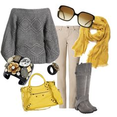 Perfect for fall, outdoor cafe, bittersweet cocoa and a friend! Love the yellow and gray!