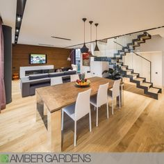 Ansamblul rezidential Amber Gardens, Bucuresti - Alesonor -casa verde, arhitectura moderna, design bioclimatic Stairs, Living Room, House Styles, Interior, Table, Furniture, Euro, Design, Home Decor