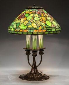 Rare Tiffany Studios New York Leaded Glass Geranium