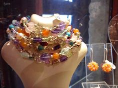 necklace amd earrings with semi precious stones