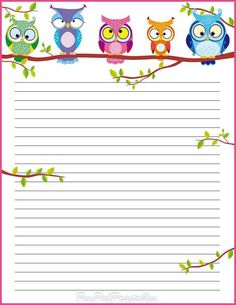 beautiful owl lined page insert for planner ideas Printable Lined Paper, Free Printable Stationery, Owl Crafts, Paper Crafts, Goodnotes 4, Theme Harry Potter, Owl Always Love You, Note Paper, Cute Owl