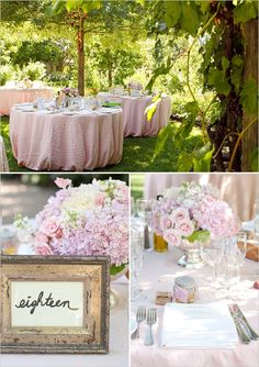 pink wedding decor ideas  centerpieces / table number