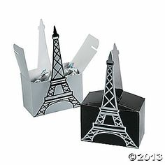 Eiffel Tower Favor Boxes  -  Eiffel Tower featured on each paper box, these favor boxes make a wonderful addition to any Paris party theme or globetrotting event.