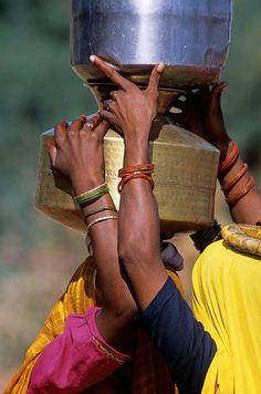 Women Transporting Water in Rajasthan India