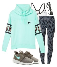 """""""4x4 contest!"""" by classicallyclaire ❤ liked on Polyvore featuring moda, NIKE, Victoria's Secret PINK e plus size clothing"""