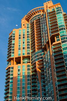 Tall shot of the moon and Portofino Tower South Beach, #Miami , #Florida #architecture #photos #travel #tourism