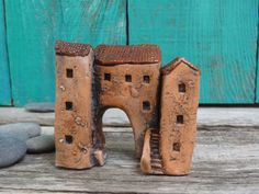 Miniature group of Medieval tunnel houses -Italian village- OOAK ceramic mini handmade sculpture