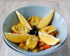 Vegetarische Paella - mit viel Gemüse anstatt Meeresfrüchten und Fleisch
