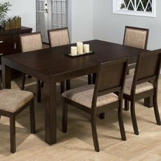Cappuccino 7 Piece Dining Table Set in Cherry by Jofran. $1504.99. 326-72 Features: -Rectangle shape.-Take out leaf and parson legs. Includes: -Set includes dining table and 6 side chairs. Color/Finish: -Cherry finish. Assembly Instructions: -Assembly required.