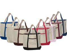 12 oz. Cotton Large Boat Tote Bag with front pocket and cotton handles. Natural cotton bag with colored trims.  #boattotes