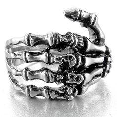 MunkiMix Edelstahl Ring Band Silber Schwarz Totenkopf Schädel Hand Knochen Gotik Größe 60 (19.1) Herren