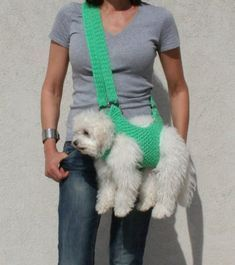 Pet carrier / Crochet dog carrier / Dog sling / BubaDog pet carriers, Small Dogs, Functional design, Comfortable, Ergonomic Design, pet sling, pet gift, Carriers, sling carrier This carrier is very comfortable for your pet. Its hand crocheted, has 4 holes at the base for the pets limbs. I dont Airline Approved Pet Carrier, Crochet Dog Sweater, Crochet Pet, Crochet Dog Clothes, Crochet Gifts, Dog Clothes Patterns, Dog Pattern, Dog Carrier, Cat Costumes