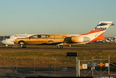 Boeing 717-231 aircraft picture, advertisment for Budget Car Rental.