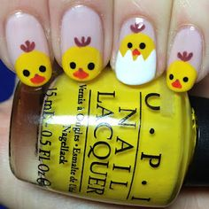 Some more Easter nail art!! Chicks :)