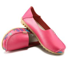 SOCOFY US Size 5-10 Women Flat Flower Casual Outdoor Soft Slip On Leather Loafer Shoes - Banggood Mobile