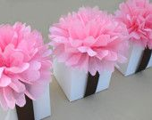 20 Favor Box Toppers --Light Pink Tissue Paper Flowers