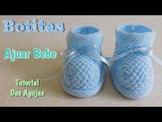 Patucos para bebé ( botitas ) Tejidos en dos agujas - YouTube