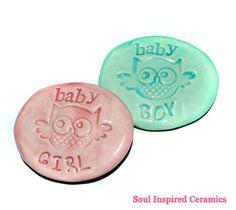 Baby Announcement Stones Ceramic Stones by SoulInspiredCeramics