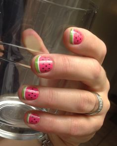 Watermelon Nail Art!!! DIY Nail designs! I know two little girls that need this for summer!