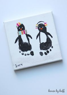 penguin footprints on canvas winter craft for babies and kids #toddlers #preschool